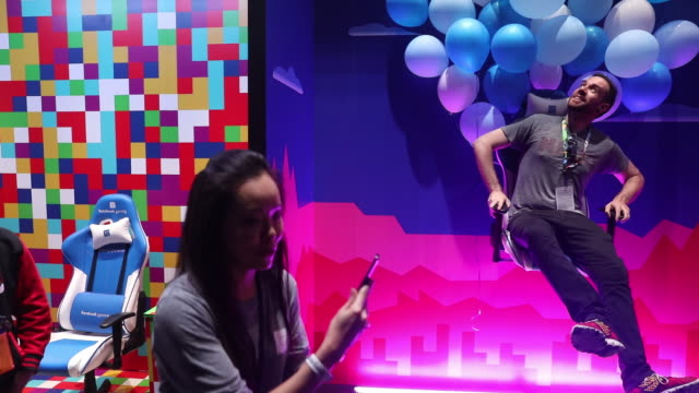 facebook inc gaming booth during e3 electronic entertainment expo in los angeles california us on wednesday june 12 2019 - trade show booth stock videos & royalty-free footage