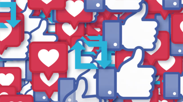 facebook instagram twitter likes - messaggistica online video stock e b–roll
