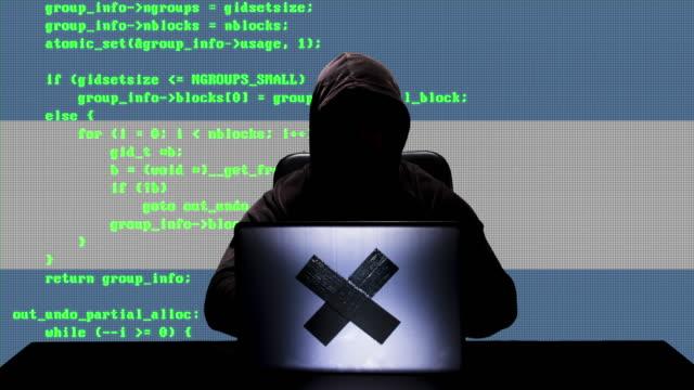 gesichtsloser argentinischer hacker tippt code-hacking auf seinem laptop mit argentinien-flagge im hintergrund - argentinische flagge stock-videos und b-roll-filmmaterial