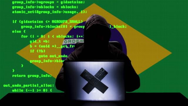 gesichtsloser brasilianischer hacker tippt code-hacking auf seinem laptop mit brasilien-flagge im hintergrund - schwarzes hemd stock-videos und b-roll-filmmaterial