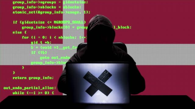 vídeos y material grabado en eventos de stock de sin rostro hacker danés escribiendo código hacking en su ordenador portátil con la bandera de dinamarca en segundo plano - danish flag