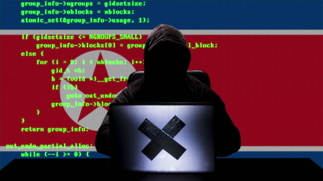 faceless north korean hacker typing code hacking on his laptop with north korea flag in background - north korea stock videos & royalty-free footage