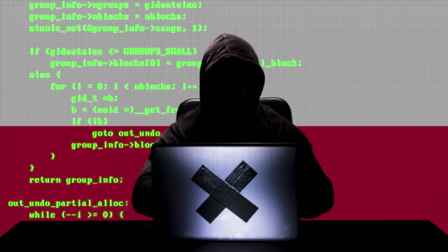 gesichtsloser polnischer hacker tippt code-hacking auf seinem laptop mit polen-flagge im hintergrund - schwarzes hemd stock-videos und b-roll-filmmaterial