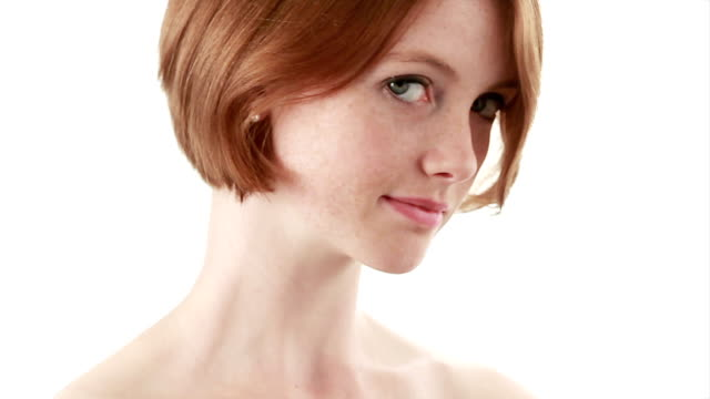 facial beauty red hair   he - neck stock videos & royalty-free footage