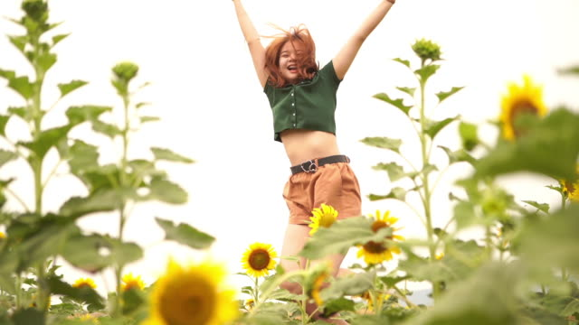facial expression by asian young woman in sunflowers field  , jumping and feel freedom with arms outstretched - one teenage girl only stock videos & royalty-free footage