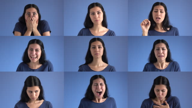 Facial expression compilation of adult woman on blue background