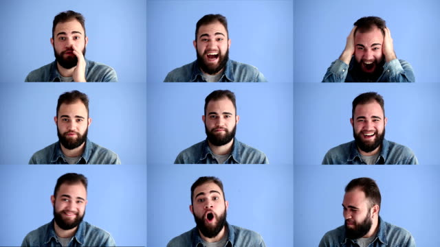 facial expressions montage of adult man on blue background - montage stock videos & royalty-free footage