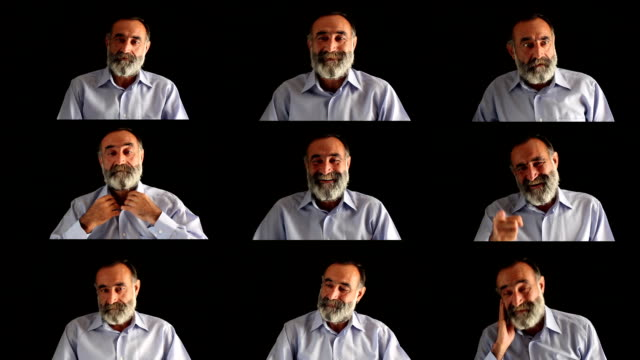 facial expressions montage of old man with beard, black background - multiple image stock videos and b-roll footage