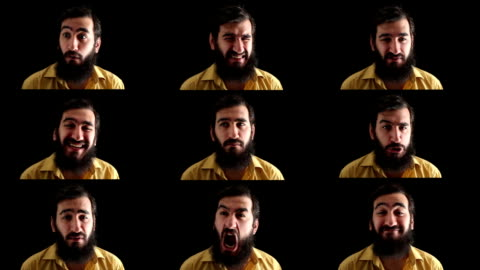 facial expressions montage of old man with beard, black background - actor stock videos & royalty-free footage