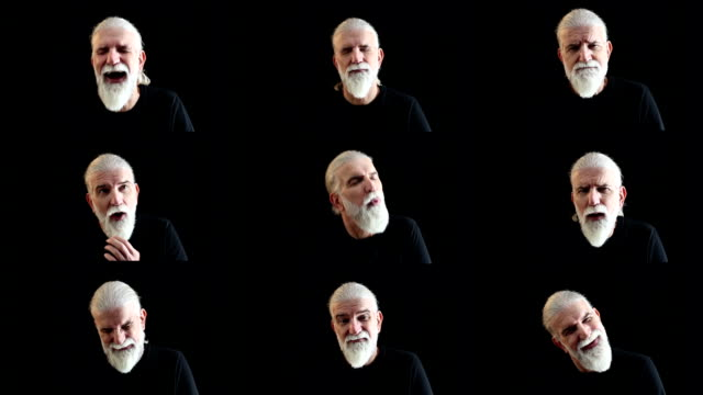 Facial expressions montage of senior man with beard, black background