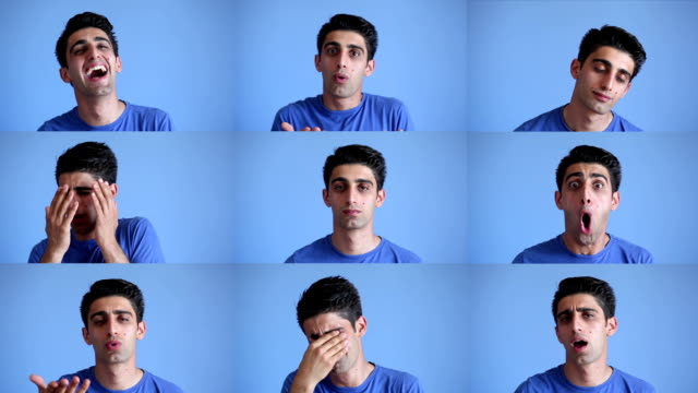 Facial expressions montage of young man on blue background