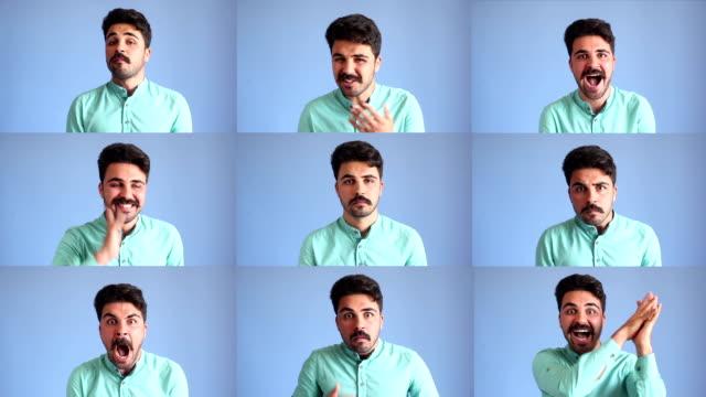 espressioni del viso montaggio di giovane uomo su sfondo blu - selimaksan video stock e b–roll