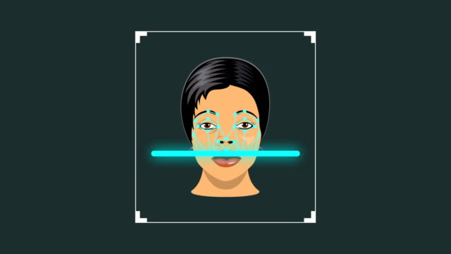 facial recognition system concept, bio-metric of a woman face detection, recognition and verification - metric system stock videos and b-roll footage