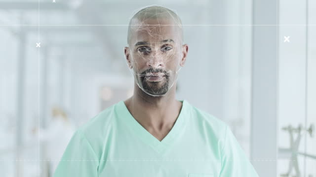 facial recognition technology scanning identity of male nurse in hospital - crime or recreational drug or prison or legal trial stock videos & royalty-free footage