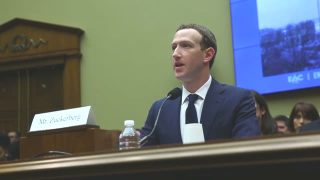 facing questions about the worst data leak in the company's history facebook cofounder and ceo mark zuckerberg testified tuesday before 44 us... - usa:s senat bildbanksvideor och videomaterial från bakom kulisserna