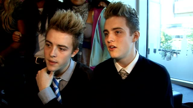 'x factor' live show launched x factor groups group interview kandy rain miss frank and jedward sot kandy rain on walsh's comments he never said that... - jedward stock videos and b-roll footage