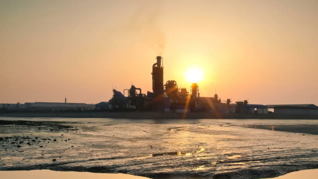 ws t/l td factory and mud flat in buksungpogu area / incheon, south korea - mud flat stock videos and b-roll footage