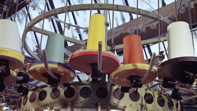 1973 MONTAGE Factory machines producing fabric / England, United Kingdom