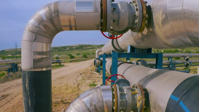 factory pipeline in nature - aerial view - gas stock videos & royalty-free footage