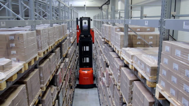 factory production line - forklift truck stock videos and b-roll footage