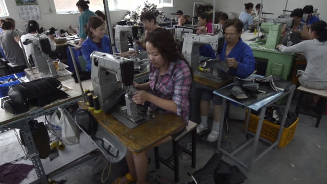 factory room with many female workers sewing pre cut leather pieces used in the manufacture of boots in mongolia - entwicklungsland stock-videos und b-roll-filmmaterial