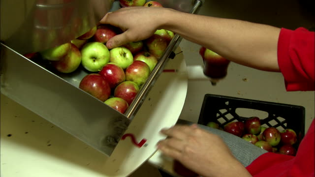 a factory worker places apples into cups on a rotating machine. - karamell stock-videos und b-roll-filmmaterial