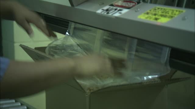 vídeos de stock e filmes b-roll de a factory worker seals peanuts in a plastic bag and cardboard box. - fruto seco