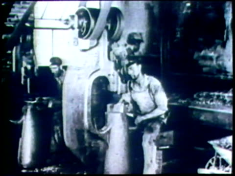 1973 b/w montage ms factory workers/ usa/ audio - steel worker stock videos & royalty-free footage