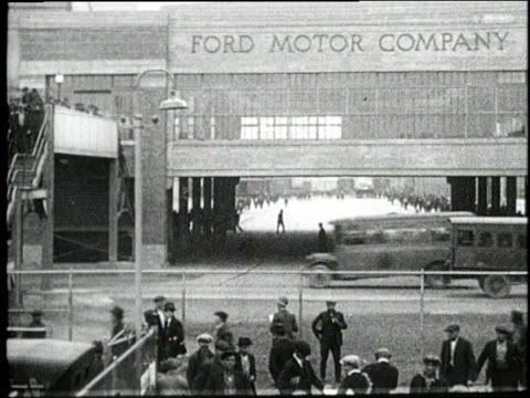 factory workers walk down stairs as they exit a ford factory. - michigan stock videos & royalty-free footage