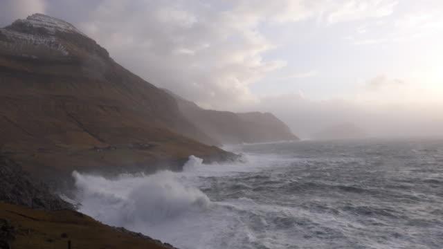 faeroe islands coast waves - north atlantic ocean stock videos & royalty-free footage