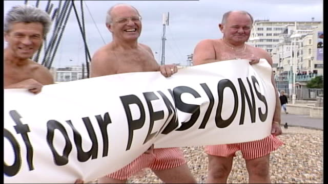 four pensioners launch legal action after government refused compensation brighton ext pensioners protesting on beach outside labour party conference... - swimming trunks stock videos & royalty-free footage
