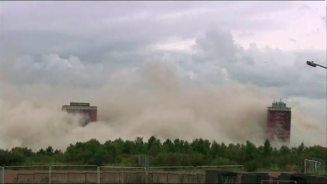Failed demolition of Red Road flats leaves two tower blocks standing SCOTLAND Glasgow EXT Red Road flats being demolished using controlled explosions...