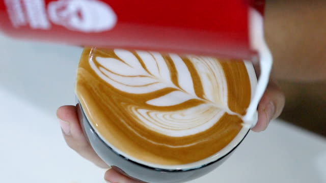 slo mo failed making latte art coffee. - froth art stock videos and b-roll footage