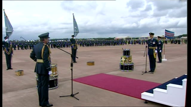 queen inspects parade / presents colours / makes speech queen speech sot i give my colour today you have served bravely and thosee who are currently... - raf fairford stock videos and b-roll footage