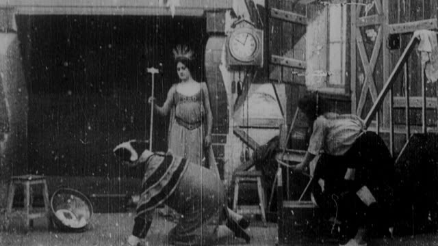 1899 b/w fairy godmother transforming cinderella into princess with stagecoach and servants - 1899 stock videos & royalty-free footage
