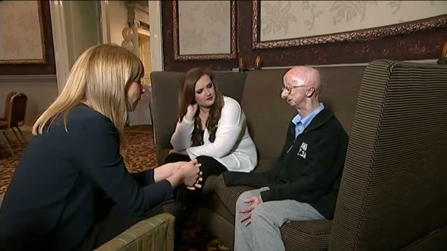 stockvideo's en b-roll-footage met 'fairy story' ending for injured pensioner alan barnes england tyne and wear newcastle upon tyne int various of alan barnes presented with large... - tyne and wear