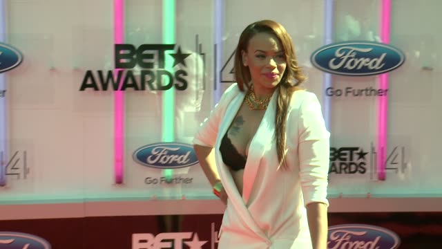 faith evans at the 2014 bet awards on june 29 2014 in los angeles california - bet awards stock videos and b-roll footage