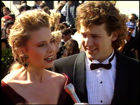 faith ford at the 1989 emmy awards outside at the pasadena civic auditorium in pasadena california on september 17 1989 - pasadena civic auditorium stock videos and b-roll footage