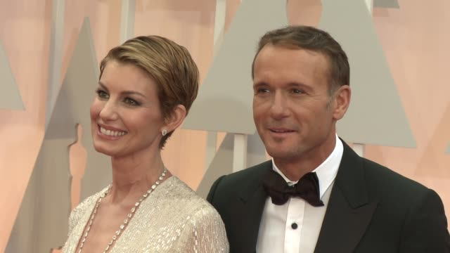 faith hill and tim mcgraw at 87th annual academy awards arrivals at dolby theatre on february 22 2015 in hollywood california - tim mcgraw stock videos and b-roll footage