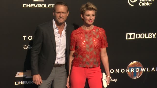 faith hill and tim mcgraw at the tomorrowland los angeles premiere at amc downtown disney 12 theater on may 09 2015 in anaheim california - tim mcgraw stock videos and b-roll footage