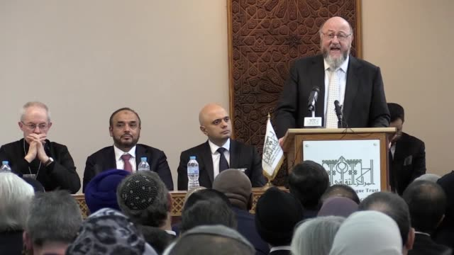 faith leaders and senior politicians including sajid javid and sadiq khan gather at the london central mosque to remember the victims of the... - london central mosque stock videos & royalty-free footage