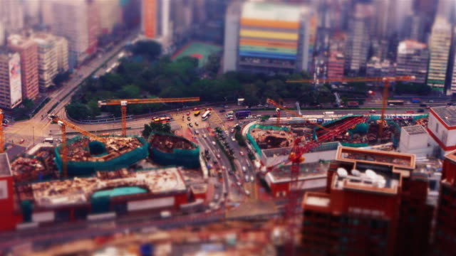 fake miniature construction site in hong kong - tilt shift stock videos and b-roll footage