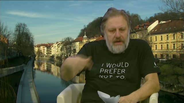 Zizek interview Fake News Zizek interview SLOVENIA Ljubljana INT Slavoj Zizek interview SOT Talks of blaming the left and right wings for fake news /...