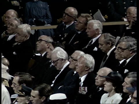 falklands memorial service; england: london: tbv congregation royals in procession: princess alexander and angus ogilvy, duke of edinburgh; prince... - congregation stock videos & royalty-free footage