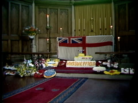 memorial services falklands memorial services england n london edmonton ms sea cadets towards m s more sailors inside church ms mrs goddard and... - memorial event stock videos and b-roll footage