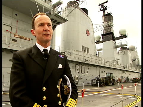 25th anniversary hms ark royal arrives in london captain mike mansergh interview sot general views of hms ark royal - ark stock videos and b-roll footage