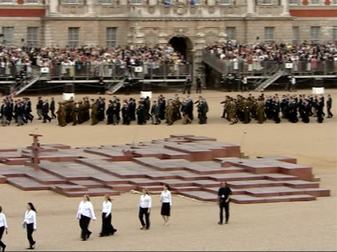 25th anniversary memorial ceremony at horse guards parade service personnel and veterans marching away and choir departing - 25th anniversary stock videos & royalty-free footage