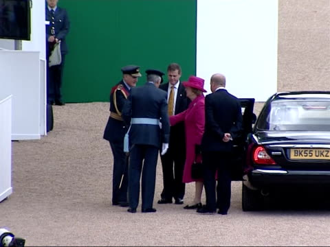 25th anniversary Memorial ceremony at Horse Guards parade Baroness Thatcher arriving in car as crowd applauds and along with others as 'Sailing' by...