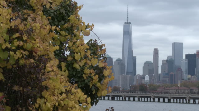 Fall Colors, Lower Manhattan & Freedom Tower - Cloudy Autumn Day