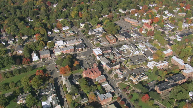aerial fall foliage surrounding small town / amherst, massachusetts, united states - small town stock videos and b-roll footage